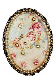 Michal Negrin Pearl Roses Oval Cameo Brooch