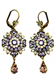 Michal Negrin Purple Green Peach Oriental Earrings