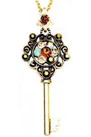 Michal Negrin Bronze Gold Key Necklace