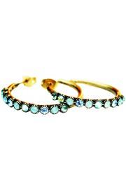 Michal Negrin Mint Green Aqua Row Hoop Earrings
