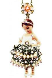 Michal Negrin Girl Ballerina Printed Metal Necklace