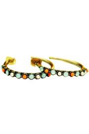 Michal Negrin Pearl Coral Sea Green Row Hoop Earrings