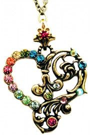Michal Negrin Multicolor Open Heart Necklace