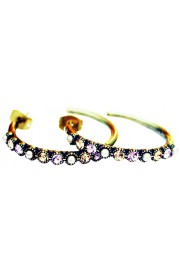 Michal Negrin Lilac Gold Pearl Row Hoop Earrings
