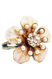 Michal Negrin Peach Nude Flower Ring