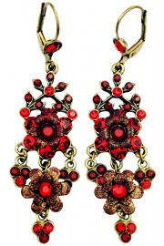 Michal Negrin Red Chandelier Earrings