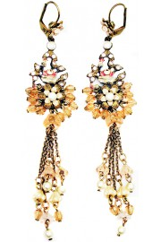 Michal Negrin Pearl Peach Flowers beads Drops Earrings