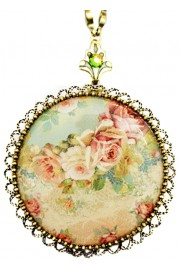 Michal Negrin Baroque Roses Round Locket Necklace