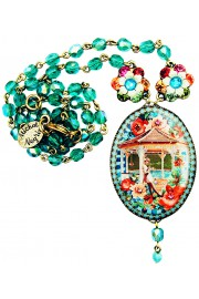 Michal Negrin Vintage Cameo Beaded Necklace