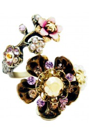 Michal Negrin Lilac Gold Pearl Wild Flowers Spiral Ring