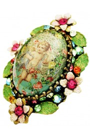 Michal Negrin Multicolor Angel Ornate Cabochon Cameo Ring