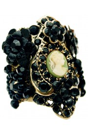 Michal Negrin Black Cameo Cuff Ring