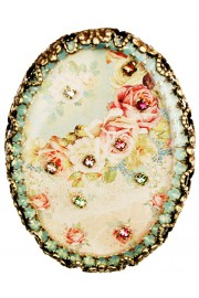 Michal Negrin Baroque Roses Oval Cameo Brooch