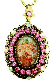 Michal Negrin Pink Vintage Flowers Locket Necklace
