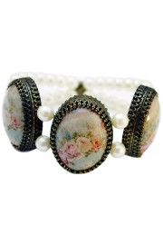 Michal Negrin Victorian Roses Cameos Pearl Bracelet