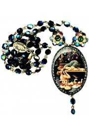 Michal Negrin Swimmers Kiss Cameo Beaded Necklace