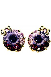 Michal Negrin Purple Swirl Crystals Clip On Earrings