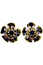 Michal Negrin Purple Wild Flower Clip Earrings