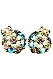 Michal Negrin Lilac Aqua Green Peach Crystals Clip Earrings