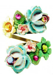 Michal Negrin Multicolor Roses Spiral Ring