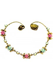 Michal Negrin Pink Green Flowers Necklace