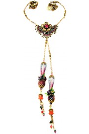 Michal Negrin Purple Pendant  Drops Necklace