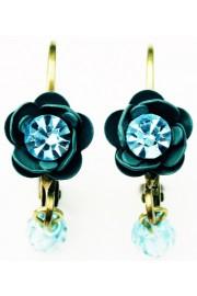 Michal Negrin Aqua Teal Rose Beads Earrings