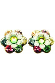 Michal Negrin Pink Green Peach Crystal Flower Stud Earrings