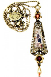 Michal Negrin Pearl Retro Girl Triangle Necklace