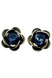 Michal Negrin Blue Grey Rose Stud Earrings