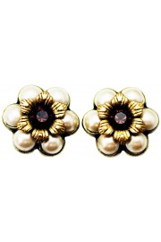 Michal Negrin Garnet Pearl Crystal Flowers Stud Earrings