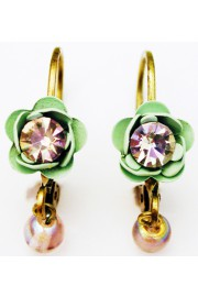 Michal Negrin Green Lilac Rose Beads Earrings