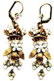 Michal Negrin White Bouquet Earrings