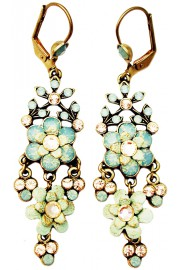 Michal Negrin Sea Green Champagne Chandelier Earrings