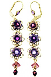 Michal Negrin Purple Lilac Triple Flowers Earrings