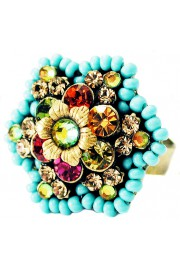 Michal Negrin Multicolor Beaded Crystal Flower Ring
