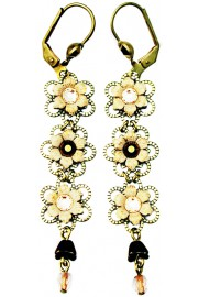 Michal Negrin Bronze Peach Triple Flowers Earrings