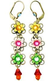 Michal Negrin Multicolor Triple Flowers Earrings
