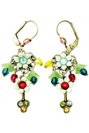 Michal Negrin Multicolor Sea Green Floral Beads Earrings