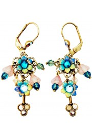 Michal Negrin Turquoise Tiedye Floral Beads Earrings