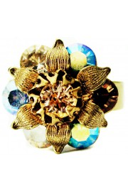 Michal Negrin Earth Tones Crystal Flower Leaves Ring