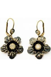 Michal Negrin Grey Black Flower Earrings