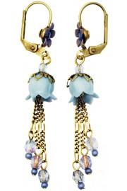 Michal Negrin Aqua Lily Bells Earrings