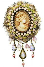 Michal Negrin Victorian Cameo Lace Brooch