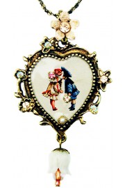 Michal Negrin Vintage Style Kiss Cameo Heart Necklace