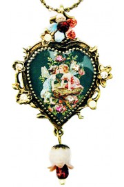 Michal Negrin Fairies Cameo Heart Necklace