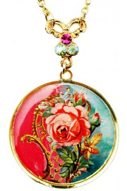 Michal Negrin Round Rose Cameo Gold Plated Necklace