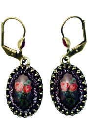 Michal Negrin Spanish Roses Cabochon Cameo Earrings