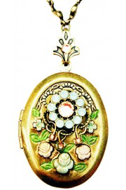 Michal Negrin Peach Sea Green Crystals Oval Locket Necklace