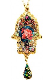 Michal Negrin Gold Plated Antique Rose Hamsa Necklace